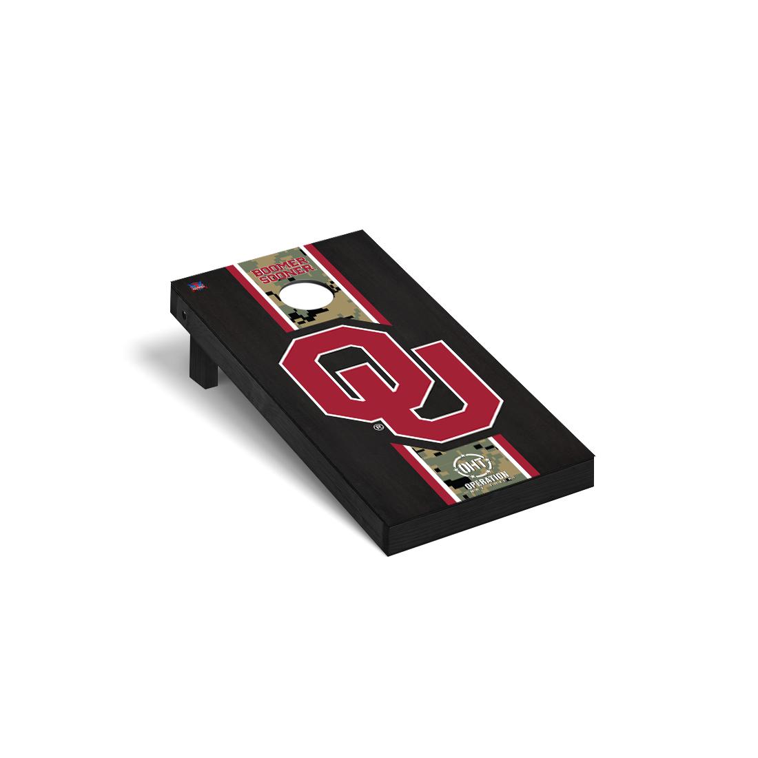 Operation Hat Trick Oklahoma Sooners Cornhole Game Set Onyx Stained Stripe Version