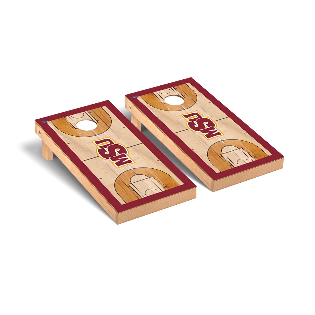 Midwestern State MSU Mustangs Cornhole Game Set Basketball Court Version