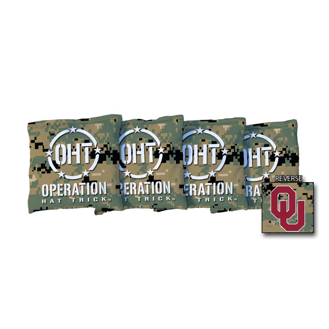 4 Operation Hat Trick Oklahoma Sooners Jungle Camo Cornhole Bags
