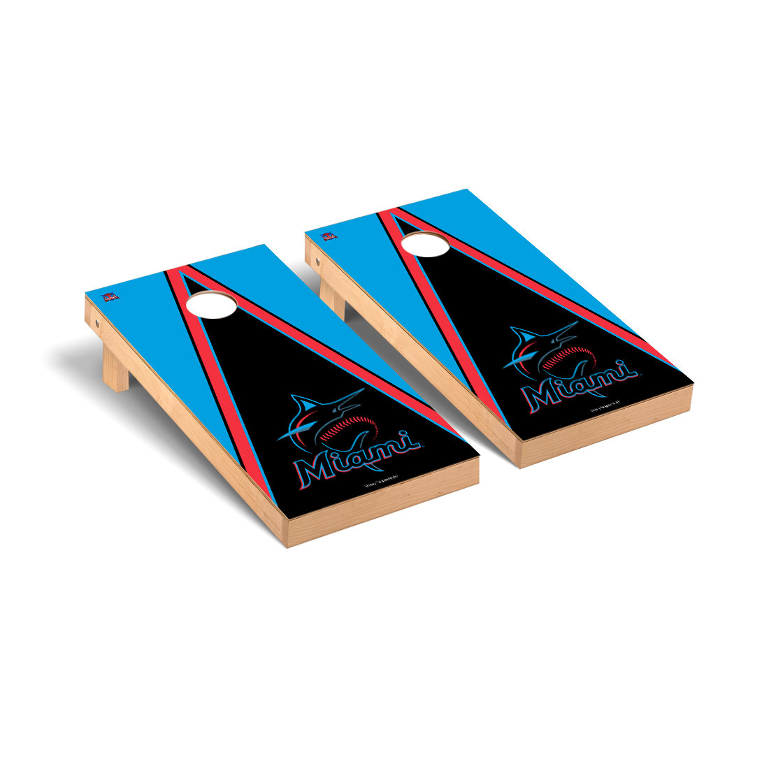 Miami Marlins MLB Cornhole Game Set Triangle Version