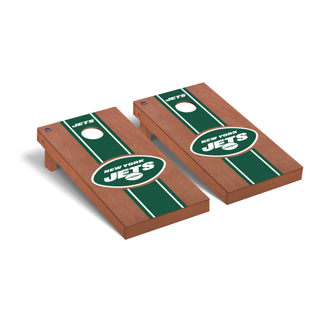 New York Jets NFL Football Cornhole Game Set Rosewood Stained Stripe Version 2