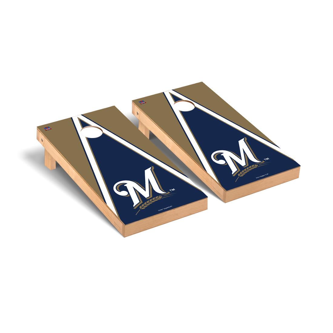 Milwaukee Brewers MLB Cornhole Game Set Triangle Version
