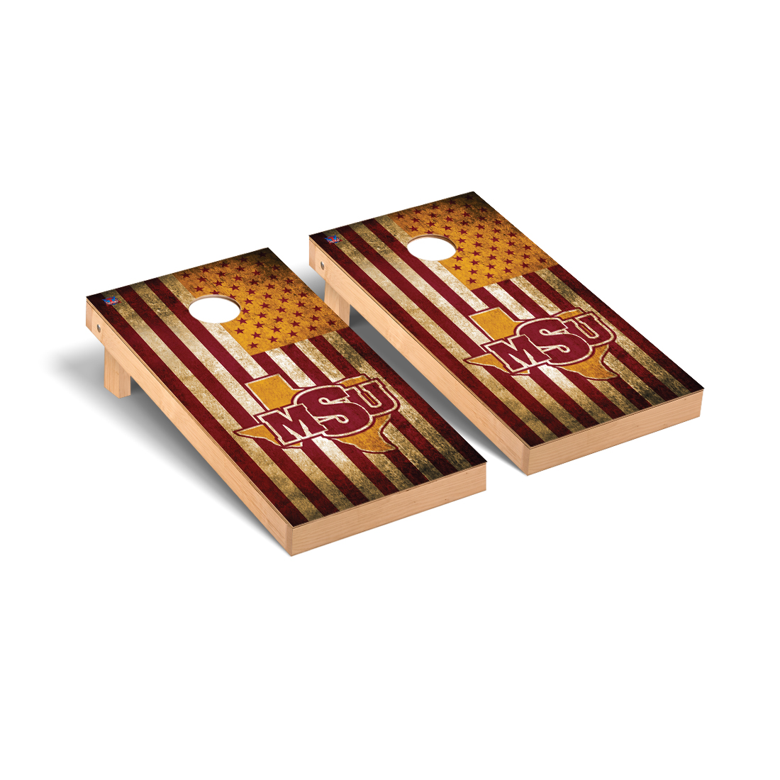Midwestern State Mustangs Cornhole Game Set Vintage Flag Version