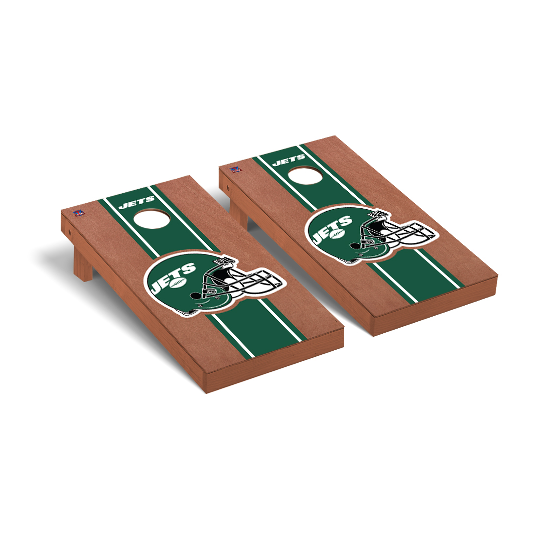 New York Jets NFL Football Cornhole Game Set Rosewood Stained Stripe Version