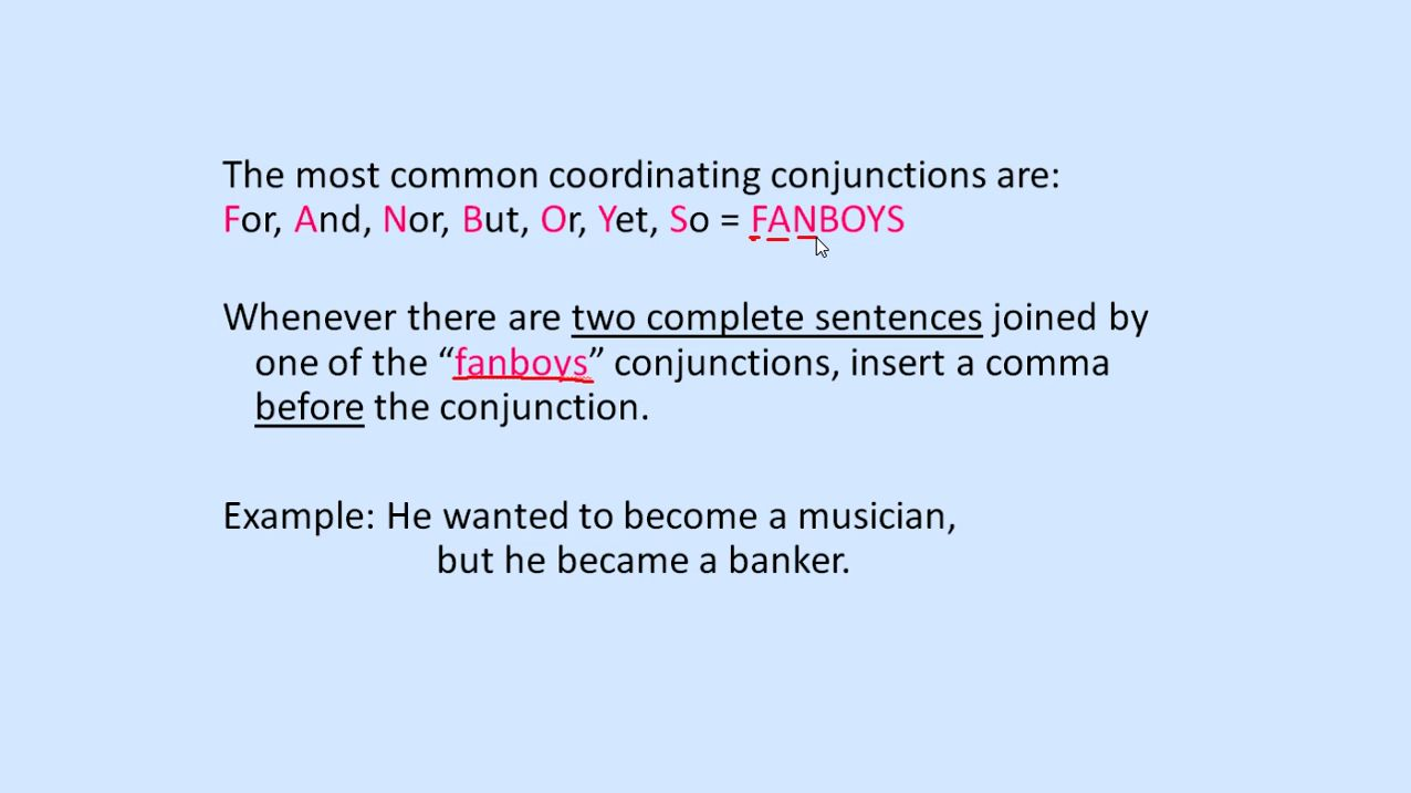 Commas In Coordinating Conjunctions Video Lesson English Videos