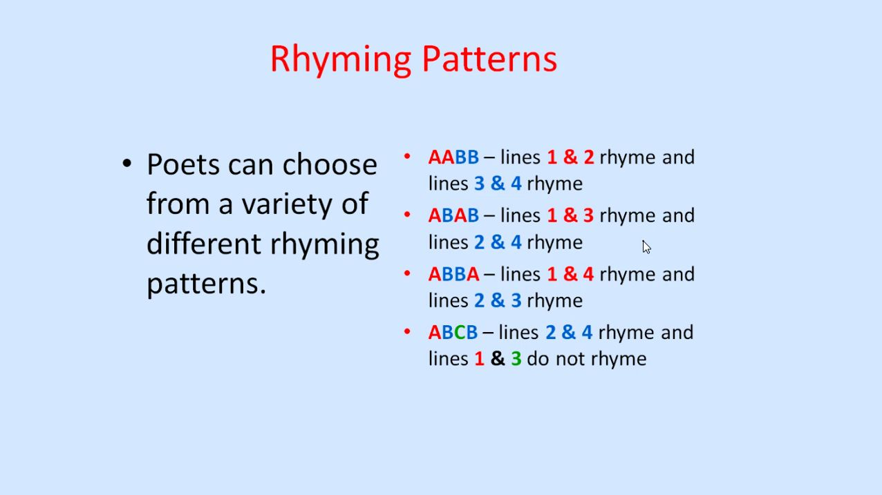 Rhyming Patterns In Poems Awesome Design Ideas