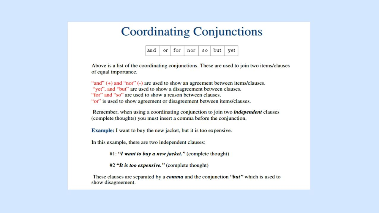 Coordinating Conjunctions Video Lesson English Videos Videoclass