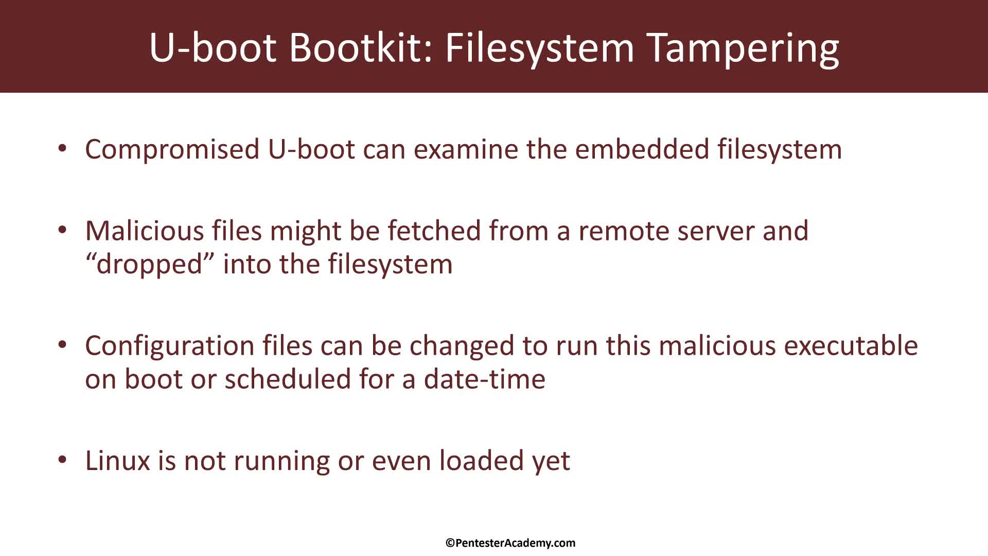 U-Boot Bootkit: Filesystem Tampering