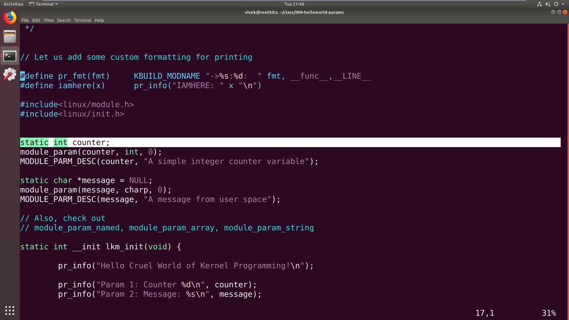 Kernel Module Basics: Input Parameters