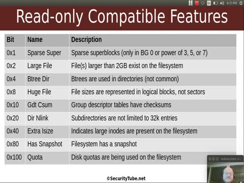 Filesystem Analysis: EXT filesystem Read-Only Compatible Features