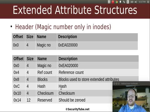 Inodes and extended Attributes