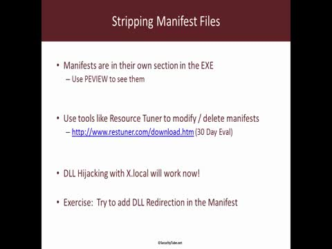 Stripping Manifest Files for DLL Hijacking