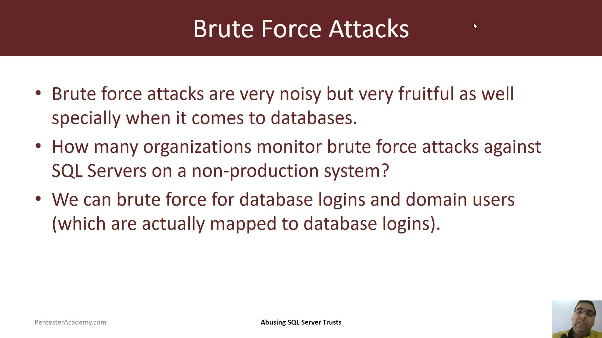 Bruteforce Attacks on SQL Server