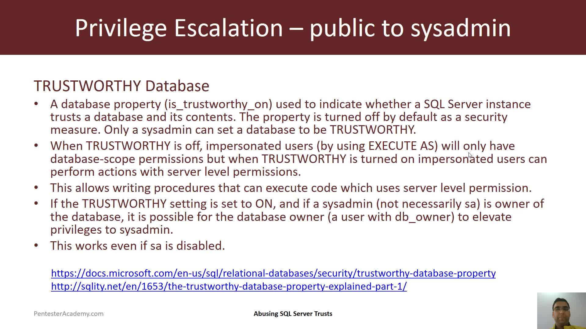 Privilege Escalation: Trustworthy Property