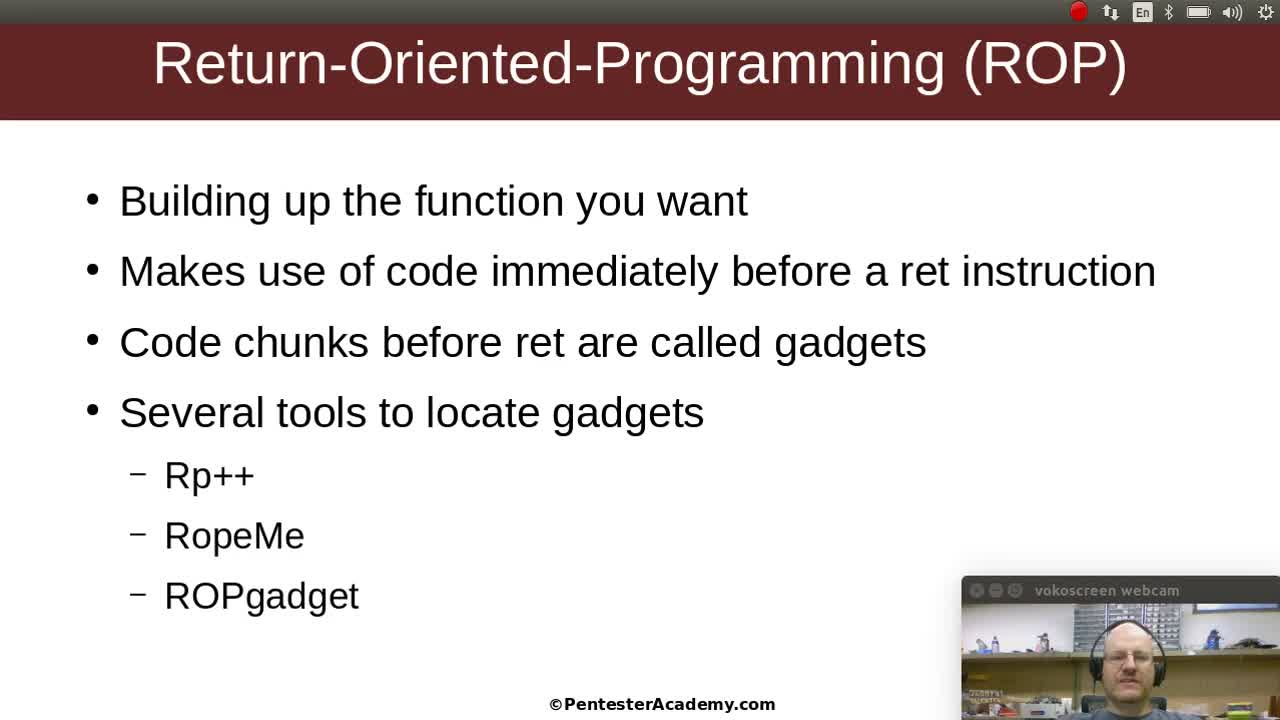 Stack Buffer Overflows Part 10: Return Oriented Programming