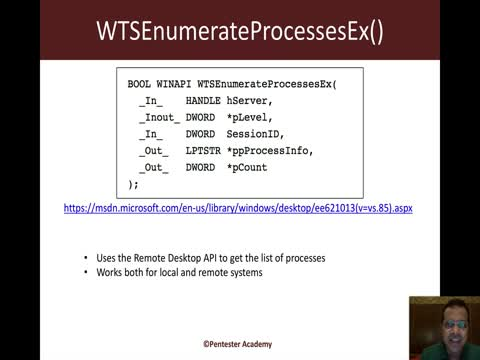 Process Listing API: WTSEnumerateProcessesEx Part 1