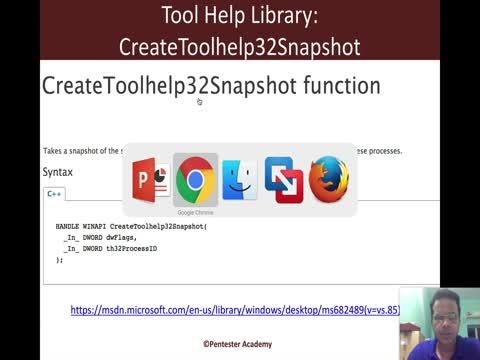 Process Listing API:  CreateToolhelp32Snapshot