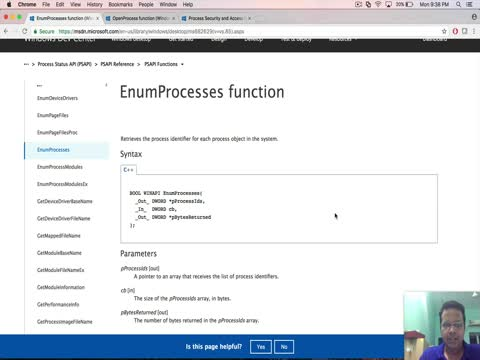 Process Listing API: PSAPI EnumProcess
