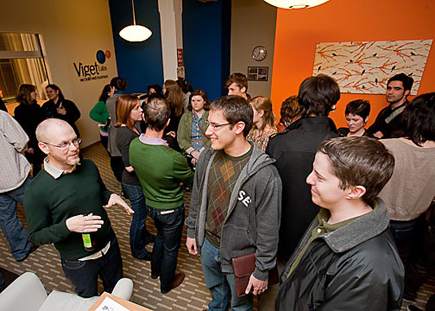 The Viget lobby full of people during the AIGA Studio Open House