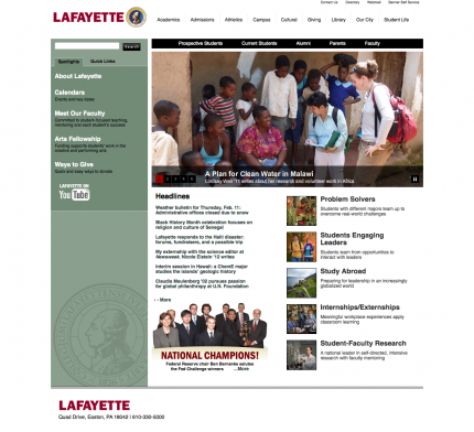 Lafayette College - Before Redesign