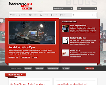 Lenovo Blog homepage