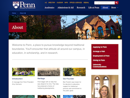 UPenn.edu About page, 2011 Viget redesign