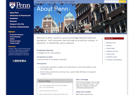 UPenn.edu About page, 2002 redesign