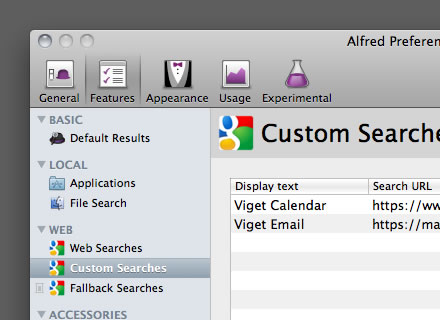 Alfred: Custom Searches