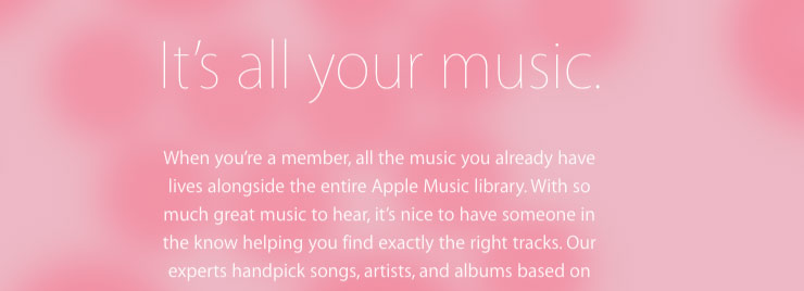 Apple Music homepage - contrast fail