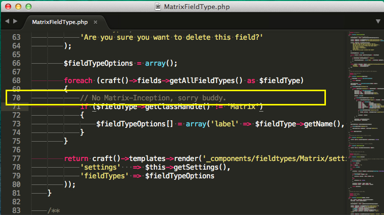 Craft leaves a easter-egg comment in their code: No Matrix Inception, sorry buddy.