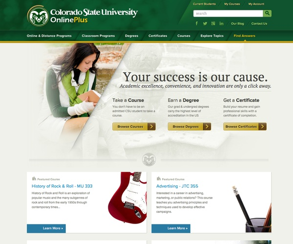 Colorado State University OnlinePlus homepage