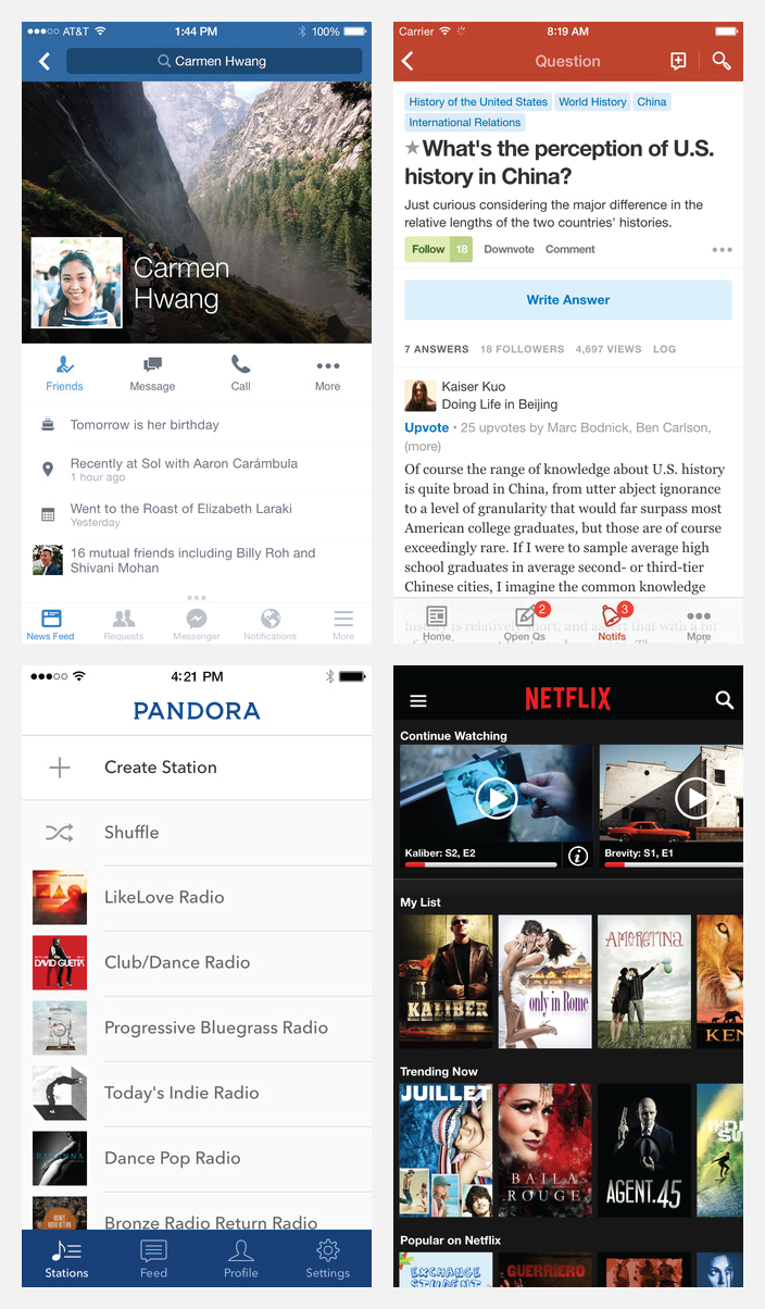 Facebook, Quora, Pandora, and Netflix