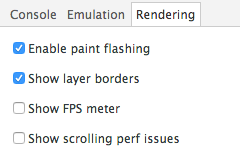 Rendering: Enable paint flashing and show layer borders