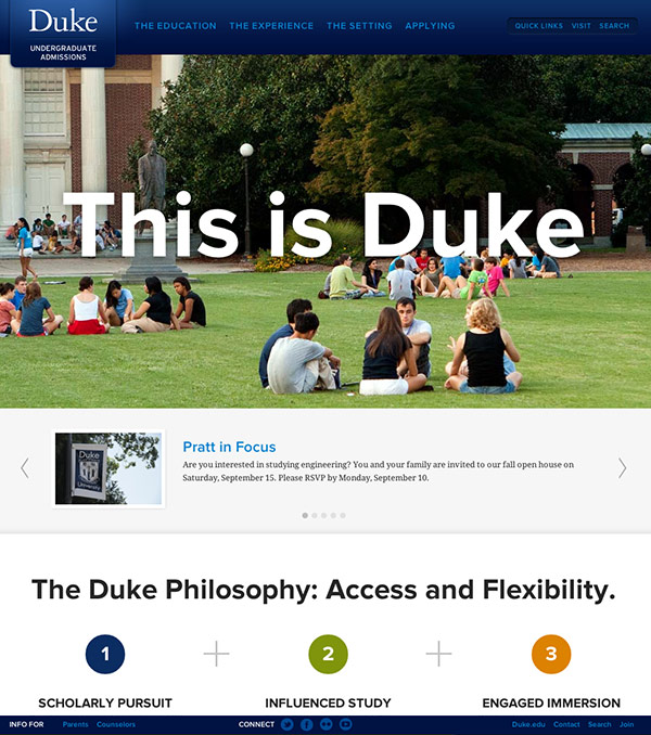 Duke Admissions Homepage After