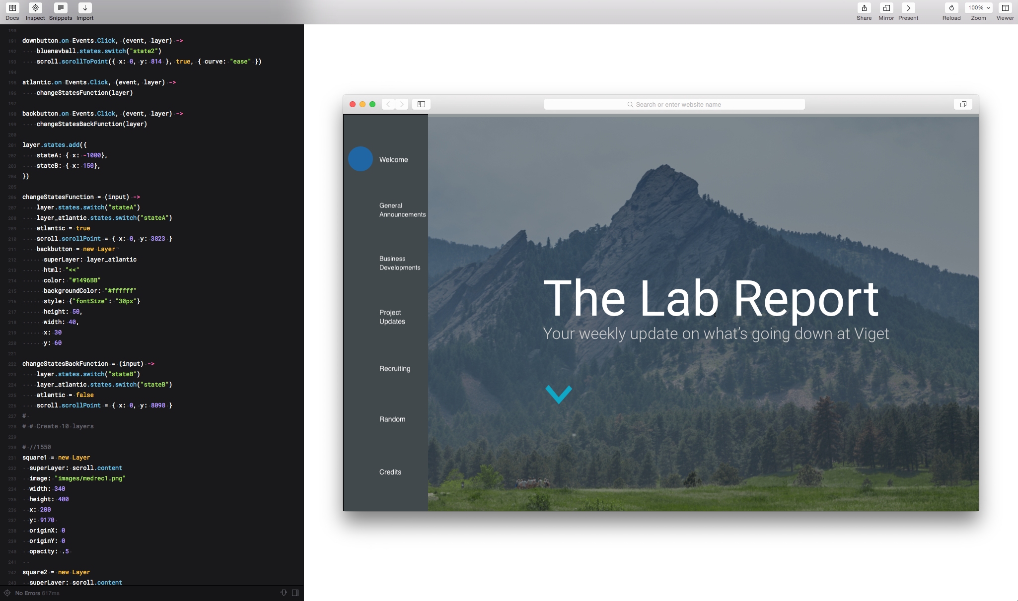 Framer.js prototype of Lab Report