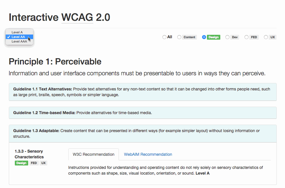A filtered view of the Interactive WCAG
