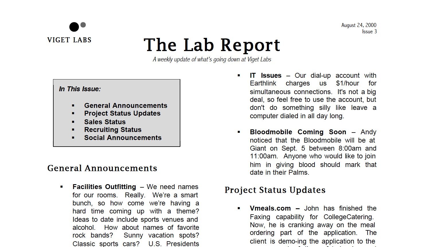 Viget Labs - Third issue of the Lab Report, August 24, 2000