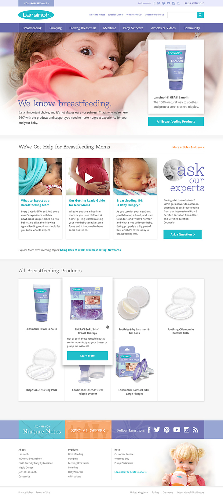 Lansinoh Breastfeeding Category Landing Page