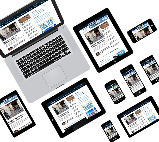 Example of responsive design on different devices