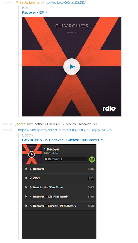 hubot rdio to spotify conversion