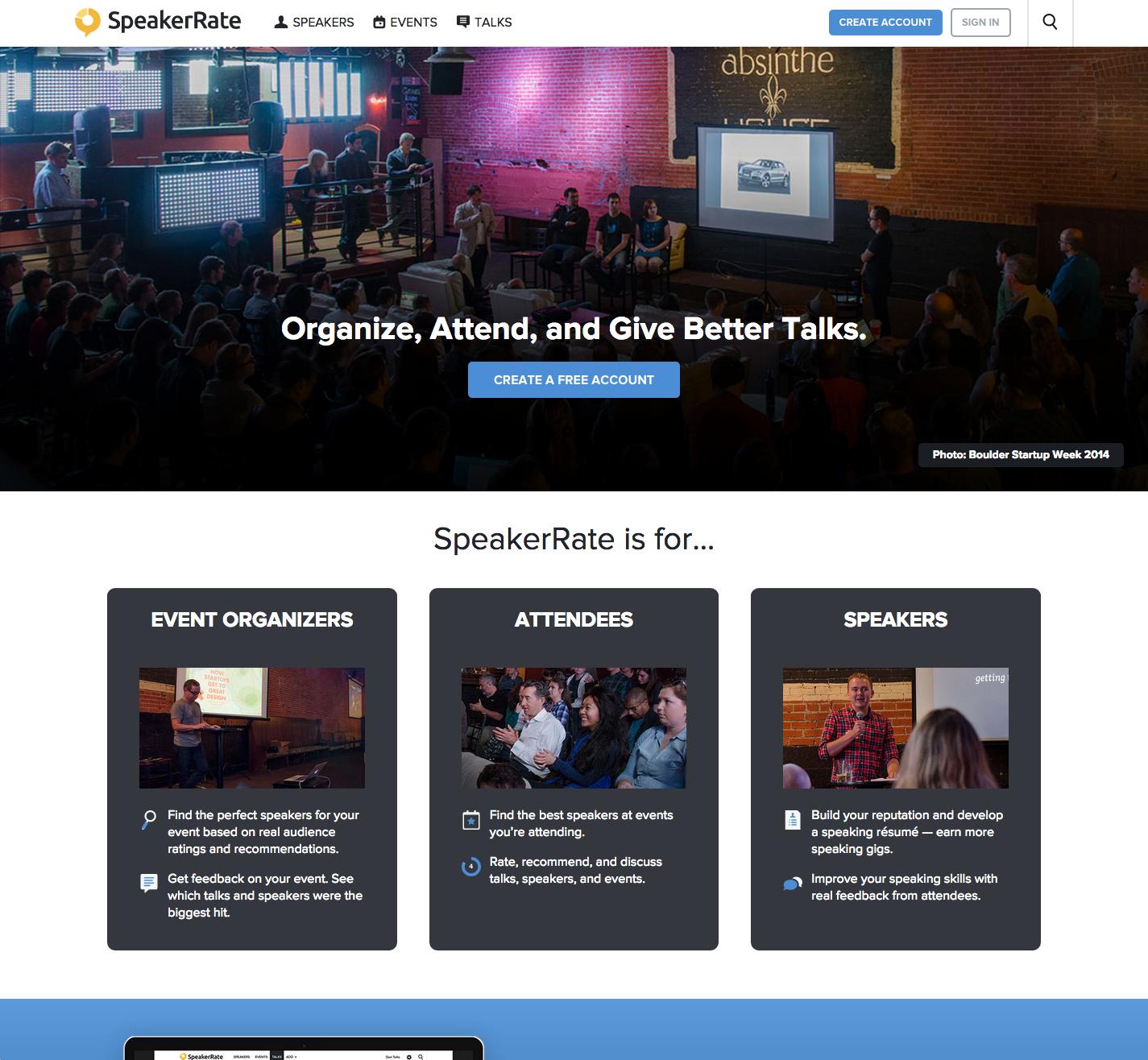 SpeakerRate homepage