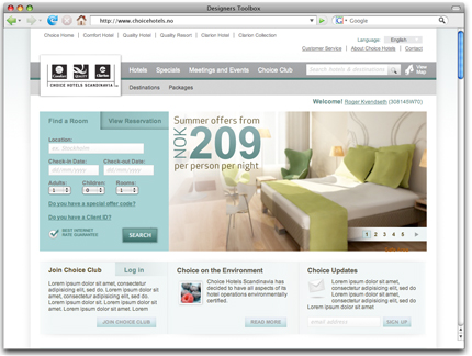 Choice Hotels Scandinavia Website