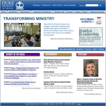 Duke Divinity site before redesign