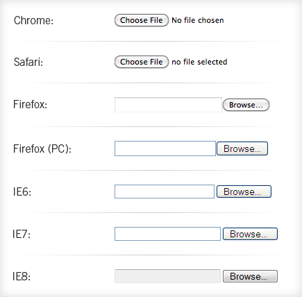 Image showing file inputs in different browsers
