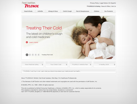 Tylenol site screenshot