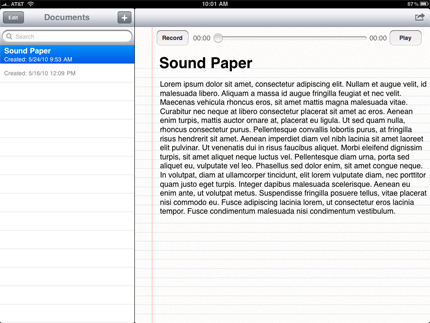 SoundPaper on the iPad