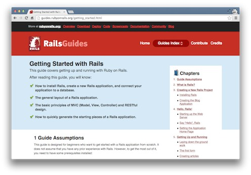 Rails Guides tutorial screenshot from the Viking Code School Blog