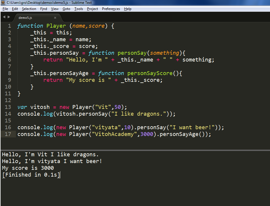 Running code in Sublime Text