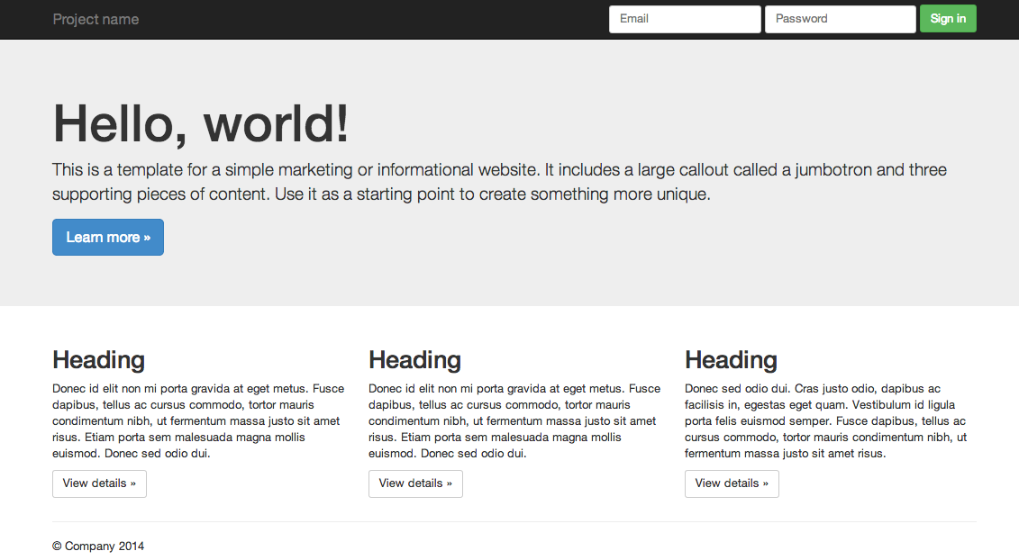 Twitter bootstrap example page screenshot