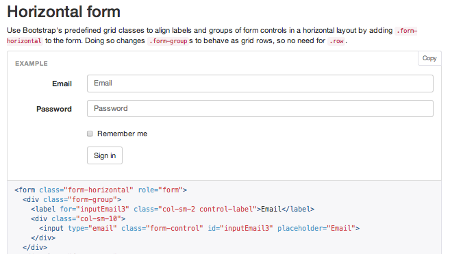 Twitter Bootstrap Horizontal Form